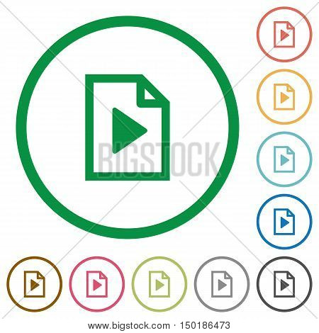 Set of playlist color round outlined flat icons on white background