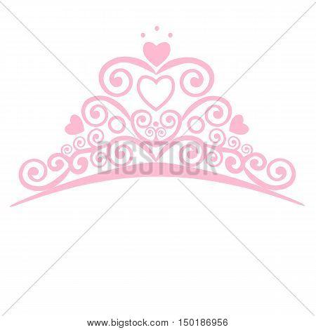 Beautiful shining princess crown. Vector illustration. design elements little Princess