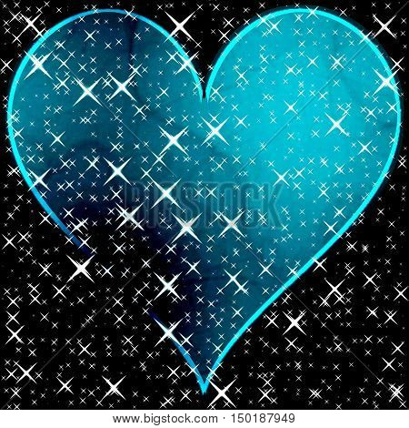 Gleaming glitter abstract blue heart with stars