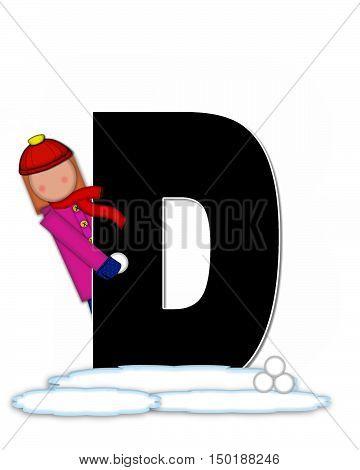 Alphabet Children Snow Fight D