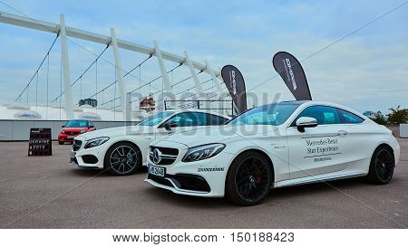 Kiev, Ukraine - OCTOBER 4, 2016: Mercedes Benz star experience. The interesting series of test drives. Presentation the new 43 series by Mercedes-AMG