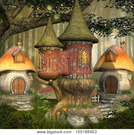 Fantasy elves village in the forest - 3D illustration