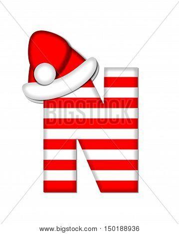 Alphabet Christmas Candy Cane N