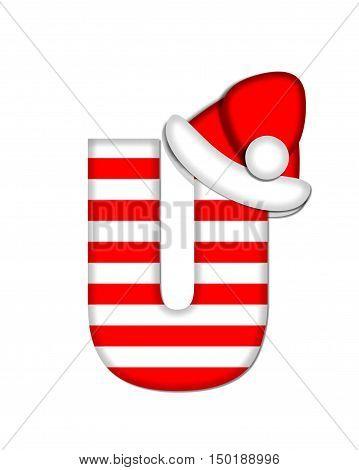 Alphabet Christmas Candy Cane U