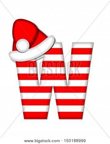Alphabet Christmas Candy Cane W