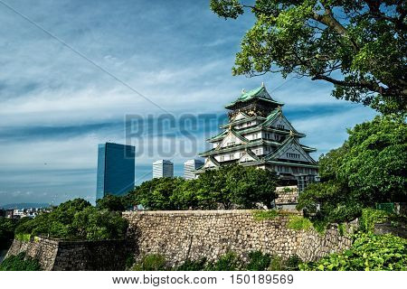 City view with Osaka Castle main tower and tree in foreground. June 2016