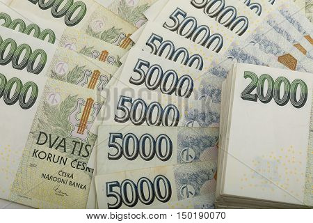 Czech Banknotes Crowns Background