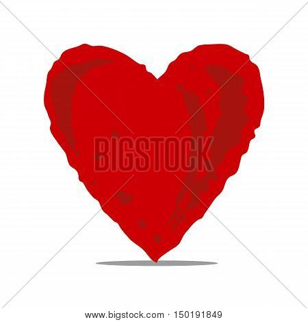 Vector flat background. Greeting cards bunner inviting cards. Hand-drawn painted red heart.