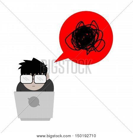 Nerd or Geek Guy with Feeling Dizzy Bubble Speech