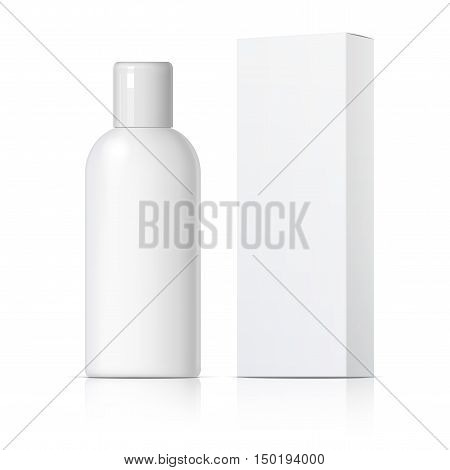 Cool Realistic white tube and packaging. For cosmetics ointments cream glue Vector. Separate elements