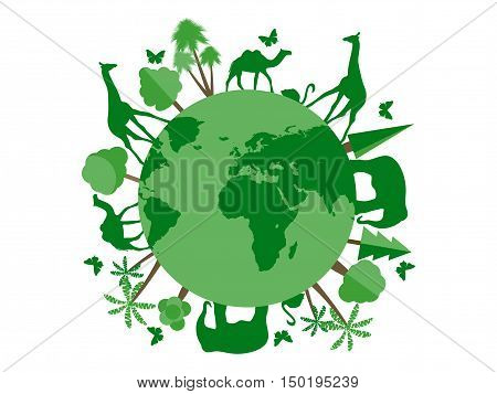 Animals On The Planet, Animal Shelter, Wildlife Sanctuary. World Environment Day. Vector Illustratio