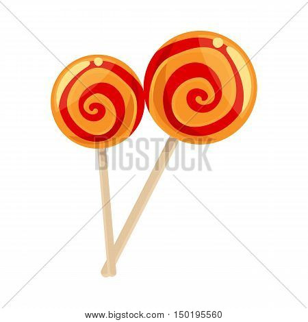 Red and yellow striped lollypops, cartoon vector illustration isolated on white background. Two shiny lollypops, red and orange color, yummy looking dessert