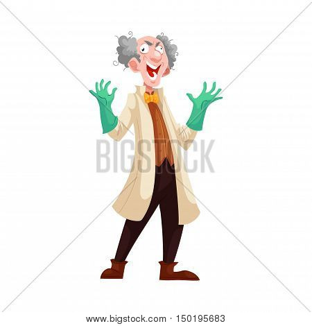 Mad professor with grey bushy hair in lab coat and green rubber gloves, cartoon vector illustration isolated on white background. Crazy laughing white-haired scientist, stereotype of scientist