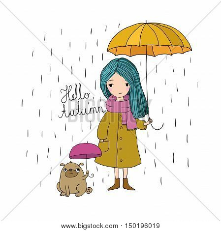 beautiful little girl and a cute cartoon pug under an umbrella. Autumn theme. Hand drawing isolated objects on white background. Vector illustration.