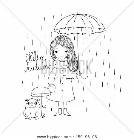 beautiful little girl and a cute cartoon pug under an umbrella. Autumn theme. Hand drawing isolated objects on white background. Vector illustration. Coloring book