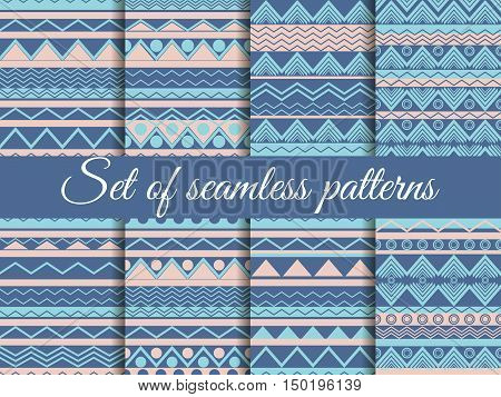 Set Seamless Ethnic Pattern, Tribal Texture, Hippie Style. Color Trends: Riverside, Pale Dogwood, Is