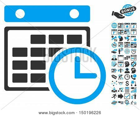 Timetable icon with bonus calendar and time management pictures. Vector illustration style is flat iconic bicolor symbols, blue and gray colors, white background.