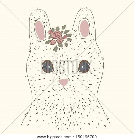 Cute rabbit. Vintage portrait.  suitable for printing on a t-shirt or sweatshirt, shirt design, print rabbit, sketch rabbit, Children's fashion shirt. Cute rabbit vintage