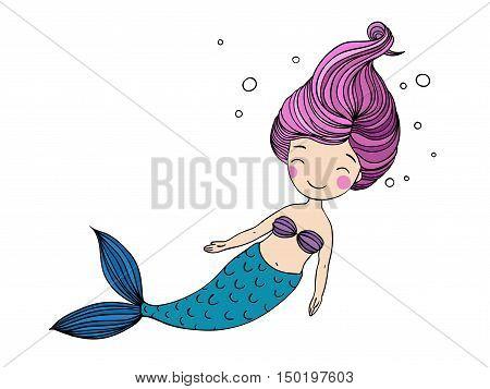 Beautiful little mermaid. Siren. Sea theme. Hand drawn vector illustration
