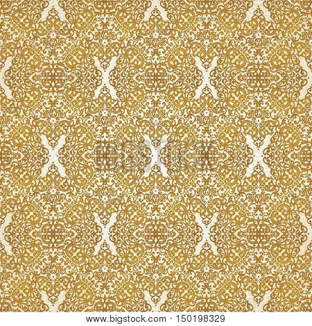 Vintage seamless pattern with lacy ornament in retro style. Gold brocade background. It can be used for wallpaper pattern fills web page background surface textures.