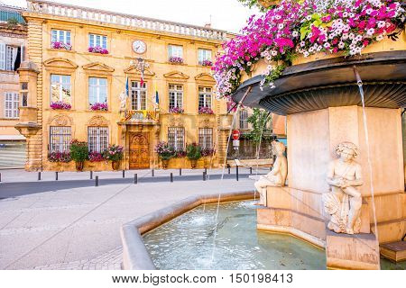 City hall building with fountain in Salon-de-Provence in France