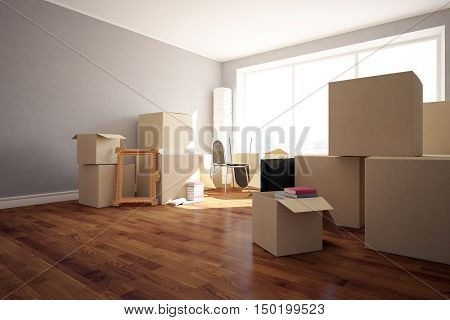 Stacks of cardboard boxes with various objects in clean room with wooden floor grey walls and windows. Moving in concept. Side view 3D Rendering