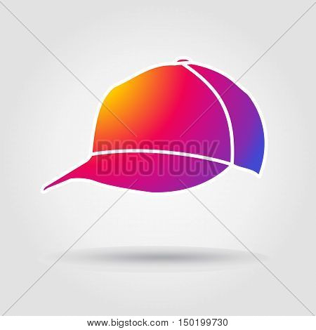 Hat. Hat baseball icon. Baseball Hat on gray background with shadow. Hat baseball game. Baseball hat Instagram icon concept. Vector illustration.