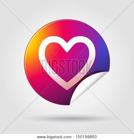 Sticker, Heart. Heart sticker. Sticker heart. Sticker Heart icon isolated with shadow on gray background. Sticker Heart in Instagram new logo 2016 color. Vector Illustration. Sticker, label, Button, icon, Tag, Sign, banner. For Art, Web, Print, flayer, ph
