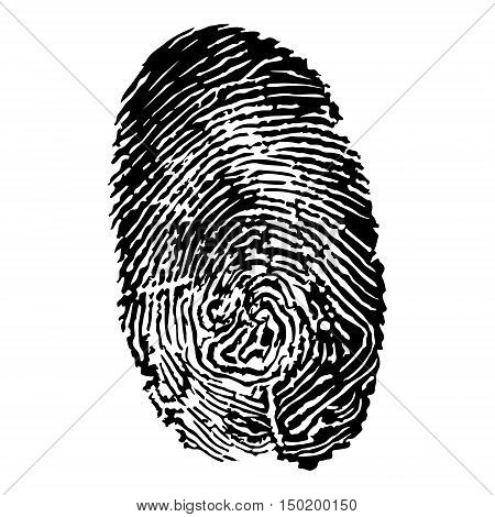 Black silhouette of fingerprint vector illustration fingerprint icon fingerprint scan