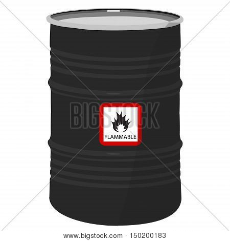 Vector illustration metal black barrel with sign flammable.