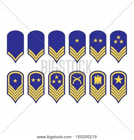 Vector illustration epaulets military ranks and insignia isolated on white background.