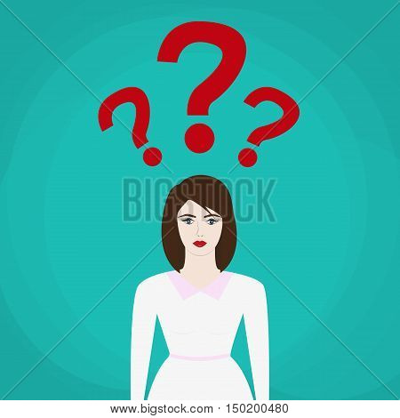 uncertain businesswoman in suit. sign. Question mark Question words vector concept