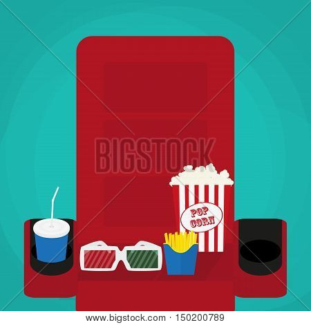 Spilled popcorn on a green background cinema movies and entertainment concept soda water in glass