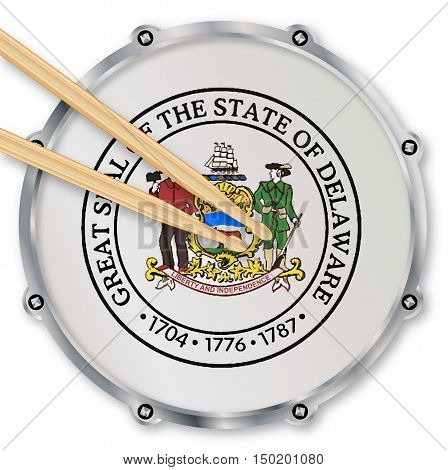 Delaware state seal snare drum batter head with tuning screws and with drumsticks over a white background