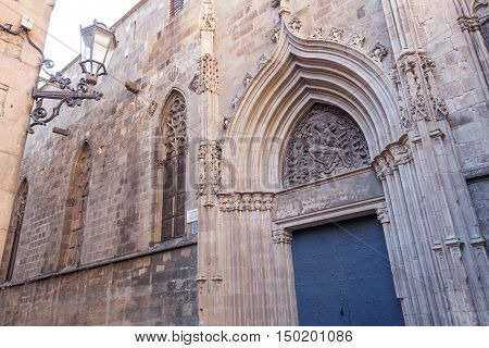Side door of the Cathedral of the Holy Cross and Saint Eulalia in Barcelona Catalonia Spain