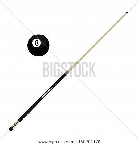 Vector illustration wooden billiard cue and eight black pool ball isolated on white background. Pool stick and 8 ball
