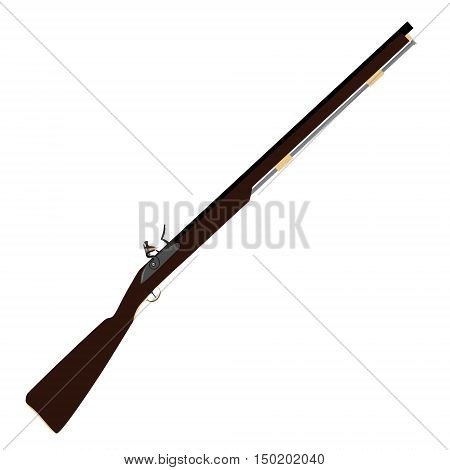 Vector illustration of old fashioned rifles. Muskets or flintlock gun.