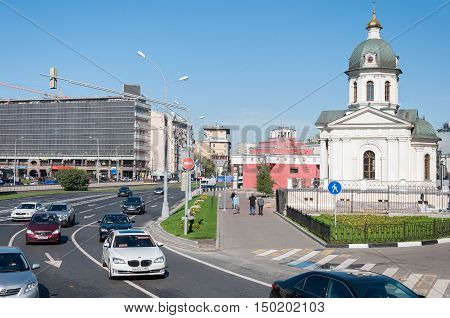 Moscow, Russia - 09.21.2015. View of the Arbat Square Prague and chapel of Boris and Gleb, and Arbatskaya Metro