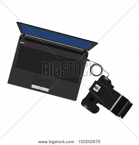 Vector illustration slr camera connected to laptop. Import photos from camera to pc
