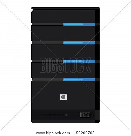 Vector illustration computer server icon. Network server hardware technology
