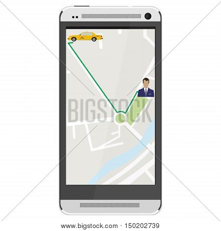 White realistic mobile smartphone with mobile app for booking taxi. Gps device. Navigation map. Gps navigator.