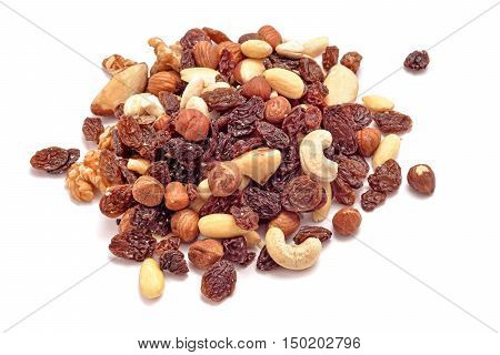 organic dry fruits and nuts mix studio isolated on white background