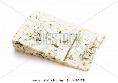 gorgonzola cheese slice studio isolated on white background
