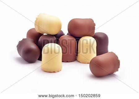 Chocolate coated marshmallow treats studio isolated on white background