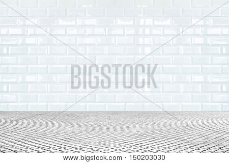 Room Perspective,white Ceramic Tile Wall And Mosaic Tile Ground