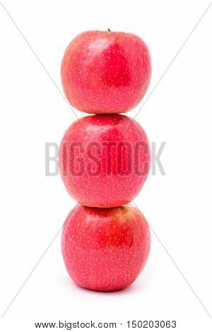 stack of three apples studio isolated on white background