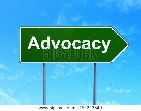 Law concept: Advocacy on green road highway sign, clear blue sky background, 3D rendering