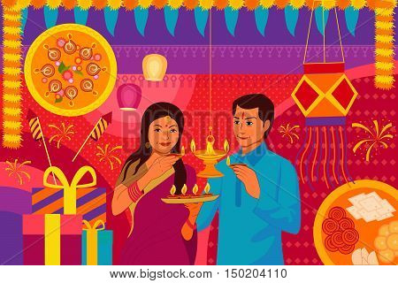 vector illustration of Indian couple with diya Happy Diwali festival background kitsch art India