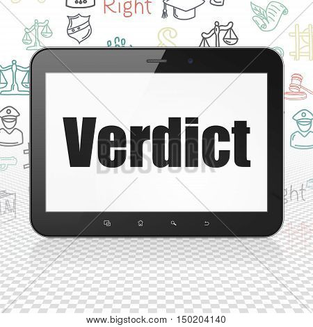 Law concept: Tablet Computer with  black text Verdict on display,  Hand Drawn Law Icons background, 3D rendering