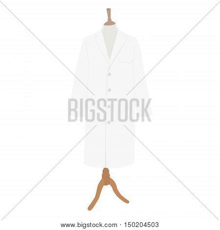 Vector illustration white work clothes model design. Medical uniform rob on mannequin. Doctor hospital coat